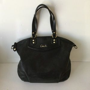 COACH LEATHER BLACK SHOULDER CROSSBODY HANDBAG